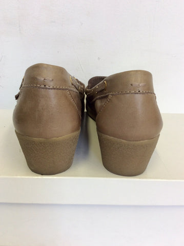MODA IN PELLE LIGHT BROWN LEATHER WEDGE HEELS SIZE 4/37