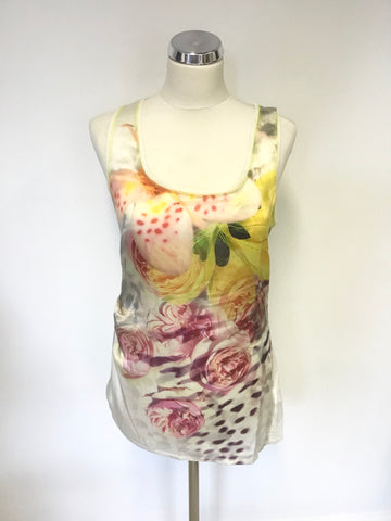 KAREN MILLEN WHITE & MULTICOLOURED FLORAL PRINT SILK FRONT VEST TOP SIZE 10