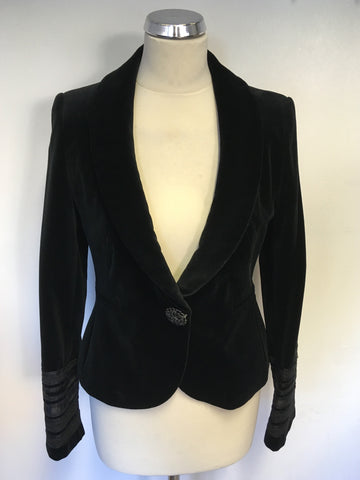 BRAND NEW MONSOON BLACK VELVET FITTED JACKET SIZE 10 ... 4a1ae864a
