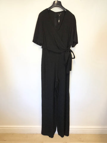 BRAND NEW MASSIMO DUTTI BLACK SHORT SLEEVE WRAP ACROSS TOP JUMPSUIT SIZE 8