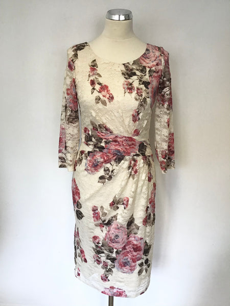 PHASE EIGHT CREAM & PINK FLORAL PRINT LACE 3/4 SLEEVE PENCIL DRESS SIZE 10