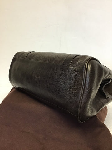 MULBERRY DARK BROWN LEATHER SMALL BAYSWATER BAG