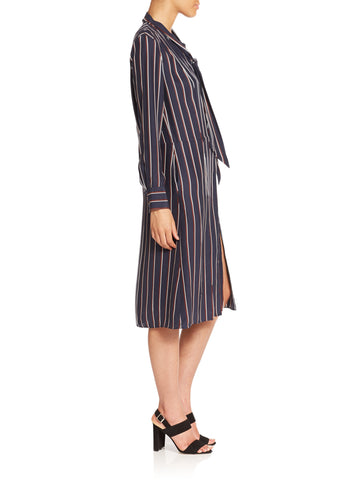 BRAND NEW FRAME NAVY VINTAGE STRIPE TIE NECK SILK SHIRT DRESS SIZE S