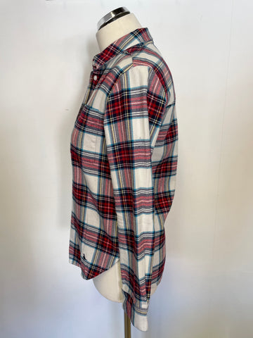 BRAND NEW JACK WILLS RED TARTAN CHECK LONG SLEEVE SHIRT SIZE 6