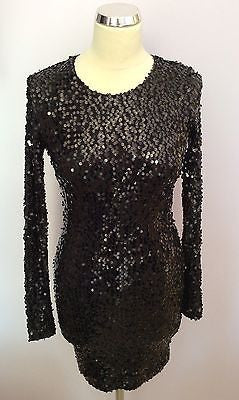 French Connection Black Long Sleeved Sequinned Dress Size 6 - Whispers Dress Agency - Womens Eveningwear - 1