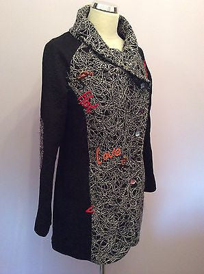 Joe Browns Black Embroidered Design Coat Size 14 (Fit 12) - Whispers Dress Agency - Sold - 1