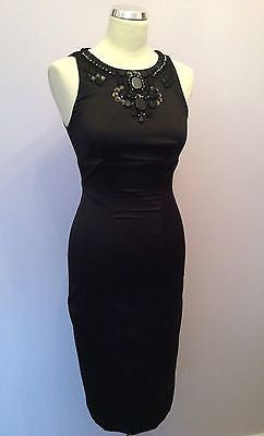 Karen Millen Black Jewel & Beaded Neckline Pencil Dress Size 8 - Whispers Dress Agency - Womens Special Occasion - 1