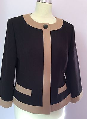 Brand New With Tags Country Casuals Black & Camel Trim Box Jacket Size 12 - Whispers Dress Agency - Sold - 1