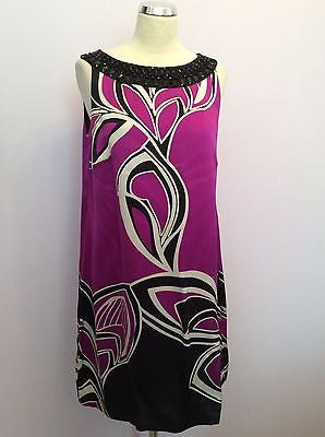 Monsoon Fuchsia Pink, Black & White Print Beaded Neck Silk Shift Dress Size 14 - Whispers Dress Agency - Womens Special Occasion - 1