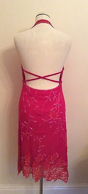 BRAND NEW AFTERSHOCK HOT PINK BEADED & SEQUINNED HALTERNECK COCKTAIL DRESS SIZE M - Whispers Dress Agency - Womens Eveningwear - 3