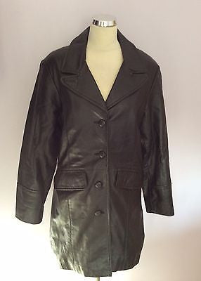 Soft Black Leather Button Front Coat Size L - Whispers Dress Agency - Womens Coats & Jackets - 1