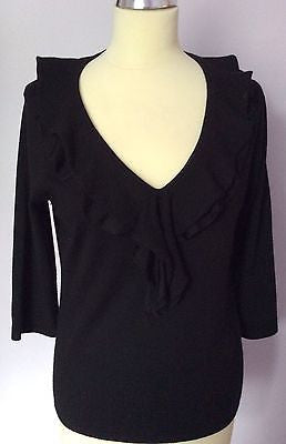 Jaeger Black V Neck Frill Trim Wool Jumper Size L - Whispers Dress Agency - Sold - 1