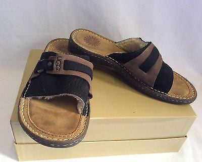Brand New Ugg Brown & Black Sheepskin Lined Suede Slip On Mules Size 6.5/39 - Whispers Dress Agency - Sold - 1