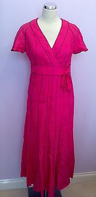 Jaeger Hot Pink & Black Stitch Trim Linen Wrap Style Dress Size 12 - Whispers Dress Agency - Womens Special Occasion - 1