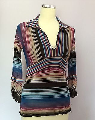 Karen Millen Striped V Neck Fine Knit Top Size 1 UK 10 - Whispers Dress Agency - Sold - 1