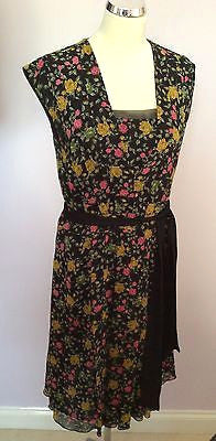 Whistles Black Floral Print Sleeveless Tie Belt Dress Size 10 - Whispers Dress Agency - Womens Dresses - 1