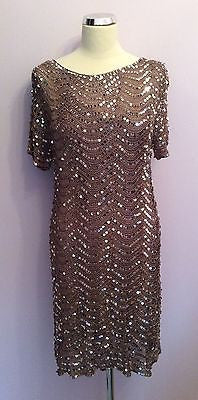Brand New Marks & Spencer Bronze Sequinned Crocheted Dress Size 16 - Whispers Dress Agency - Womens Eveningwear - 1
