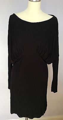French Connection Black Batwing Sleeve Stretch Dress Size 16 - Whispers Dress Agency - Sold - 1