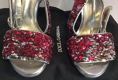 Dolce & Gabbana Red & Silver Sequinned Strappy Heel Sandals Size 6/39 - Whispers Dress Agency - Sold - 3