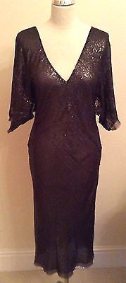Beautiful Brown Sequinned V Neckline Silk Dress Size 12 - Whispers Dress Agency - Womens Eveningwear - 1