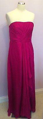 BRAND NEW WITH TAGS MONSOON HOT PINK SILK STRAPLESS DRESS SIZE 14 RRP £199 - Whispers Dress Agency - Womens Special Occasion - 1