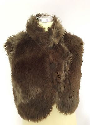 Per Una Dark Brown Faux Fur Gilet Size M - Whispers Dress Agency - Sold - 1