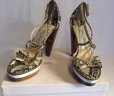 Jimmy Choo Zena Snakeskin Perspex Heel Strappy Sandals Size 6.5/40 - Whispers Dress Agency - Womens Sandals - 1