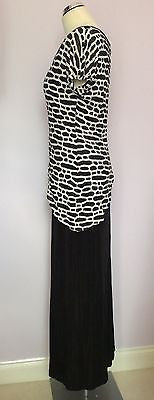 Joseph Ribkoff Black & White Stretch Long Evening Dress Size 12 - Whispers Dress Agency - Sold - 4