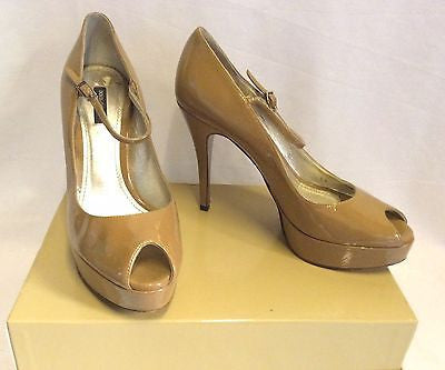 Dolce & Gabbana Camel Patent Leather Peeptoe Heels Size 5.5/38.5 - Whispers Dress Agency - Womens Heels - 1