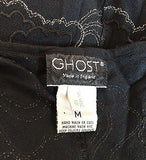 Ghost Black & Silver Embroidery Deep V Neckline Dress Size M - Whispers Dress Agency - Sold - 5