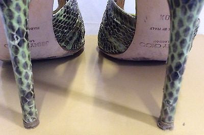 Jimmy Choo Raven Elaphe Green Snakeskin Strappy Heel Sandals Size 7/40.5 - Whispers Dress Agency - Womens Sandals - 4