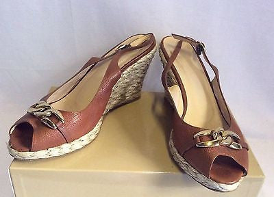 LK Bennett Tan Brown Leather Wedge Heel Peeptoe Sandals Size 7.5/ 41 - Whispers Dress Agency - Sold - 1