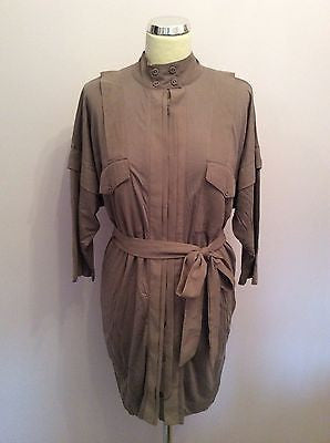 French Connection Light Brown Tie Waist Shirt Dress Size 12 - Whispers Dress Agency - Sold - 1
