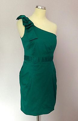 886dbc30fb9 French Connection Emerald Green Bow Trim One Shoulder Dress Size 12 -  Whispers Dress Agency -