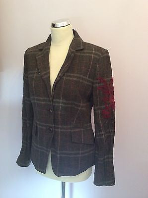 Betty Barclay Brown Checked Embroidered Sleeve Jacket Size 10 - Whispers Dress Agency - Sold - 1