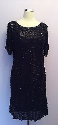 Marks & Spencer Black Sequinned Crocheted Dress Size 16 - Whispers Dress Agency - Womens Eveningwear - 1