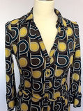 Hobbs Brown, Mustard & Green Print Tie Belt Dress Size 8 - Whispers Dress Agency - Sold - 2