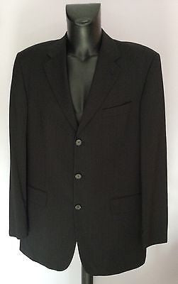 Smart Hugo Boss Black Pinstripe Wool Suit Jacket Size Uk 42 Approx - Whispers Dress Agency - Sold - 1