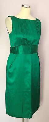 Monsoon Emerald Green Silk & Cotton Dress Size 12 - Whispers Dress Agency - Sold - 1