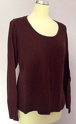 Laura Ashley Burgundy Scoop Neck Jumper Size 16 - Whispers Dress Agency - Sold - 1