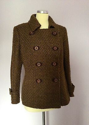 Per Una Brown Weave Double Breasted Jacket Size 14 - Whispers Dress Agency - Sold - 1