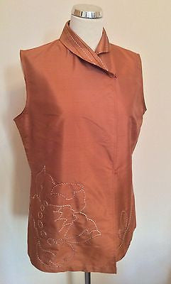 Nitya Burnt Orange Silk Embroidered Sleeveless Top Size 14 - Whispers Dress Agency - Sold - 1