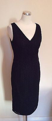 Marks & Spencer Autograph Black Broidery Anglaise Pencil Dress Size 14 - Whispers Dress Agency - Womens Dresses - 1
