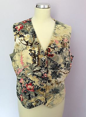 East Floral Print Brushed Cotton Waistcoat Size 16 - Whispers Dress Agency - Sold - 1