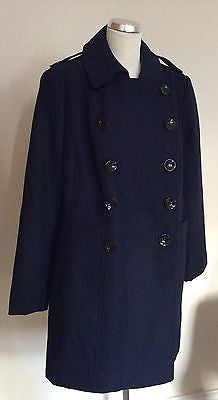 New Marks & Spencer Dark Blue Double Breasted Coat Size 22 - Whispers Dress Agency - Sold - 1