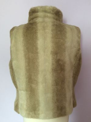 John Rocha Beige Faux Fur Gilet Size 16 - Whispers Dress Agency - Womens Gilets & Body Warmers - 2
