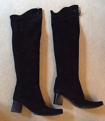 Russell & Bromley Black Suede Over Knee / Knee High Boots Size 4.5/37.5 - Whispers Dress Agency - Sold - 1