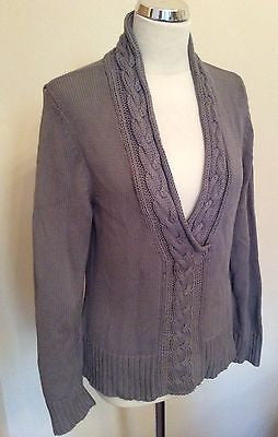 Paul Costelloe Dressage Grey Cable Trim V Neck Jumper Size 3 Approx 12/14 - Whispers Dress Agency - Sold - 1