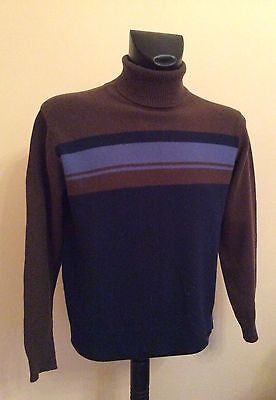 Paul Smith Brown & Blue Striped Wool Blend Polo Neck Jumper Size M - Whispers Dress Agency - Sold - 1