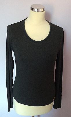 Dolce & Gabbana Grey Scoop Neck Long Sleeve Top Size L - Whispers Dress Agency - Sold - 1